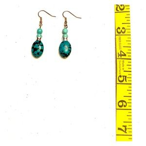 Silver band Turquoise drop pierced earrings